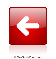 arrow left red square glossy web icon on white background