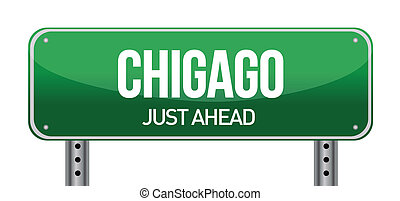 Road sign to Chicago