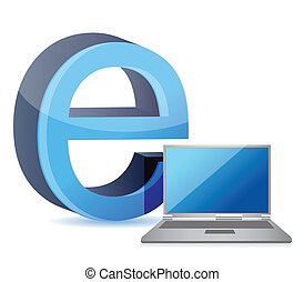 E for internet and laptop