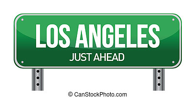 Road sign Los Angeles illustration design over a white...