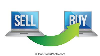 online sell and buy concept illustration design over a white...
