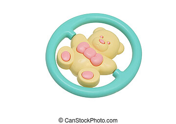 Children's toy rattle. Yellow bear. - Children's toy rattle....