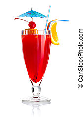Red alcohol cocktail with orange slice and umbrella isolated