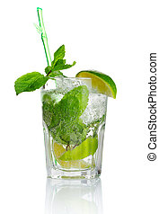 Alcohol mojito cocktail with fresh mint isolated on white...
