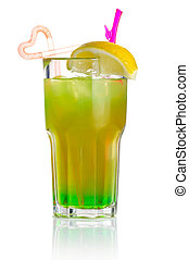 Green alcohol cocktail with lemon slice isolated on white