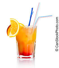 Red alcohol cocktail with orange slice isolated on white