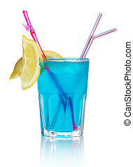 Blue alcohol cocktail with lemon slice isolated on white