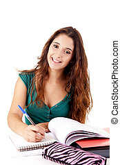 Portrait of a young happy student on white background