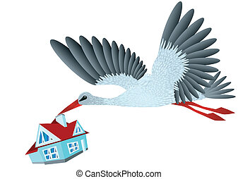 Stork brings house. Conceptual design in 10 EPS