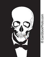 smoking skull,vector illustrations, image format - A4