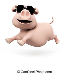 Funny pig character - 3d rendered illustration of a funny...