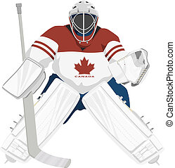 Team Canada hockey goalie, isolated vector illustrations