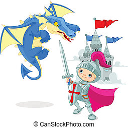 Knight fighting a dragon - A brave knight fighting with a...