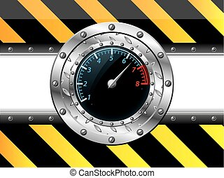 Tachometer design with industrial elements on striped...