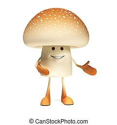 Food character - mushroom - 3d rendered illustration of a...