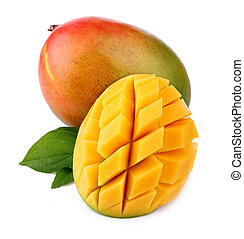 Fresh mango fruit with cut and green leafs isolated