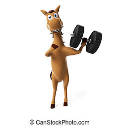 Funny horse character - 3d rendered illustration of a funny...