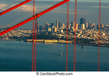San Francisco skyline through the Golden Gate Bridge at dusk