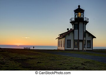 Pt Cabrillo lighthouse at sunset - Mendocino coast, Pt...