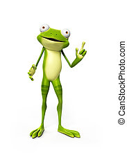Funny frog character - 3d rendered illustration of a funny...