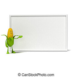 Food character corn cob - 3d rendered illustration of a corn...