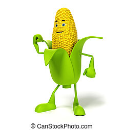 Food character - corn cob - 3d rendered illustration of a...