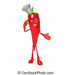 Food character - chili - 3d rendered illustration of a chili...