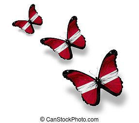 Three Latvian flag butterflies, isolated on white