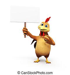 3D, representado, Ilustração, galinha