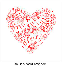 Heart made of handprints on white background