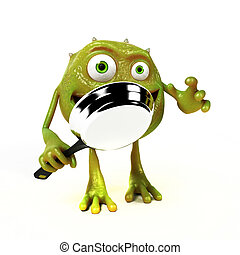 Funny bacteria toon character - 3d rendered illustration of...
