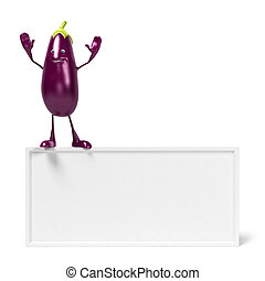 Food character - aubergine - 3d rendered illustration of a...