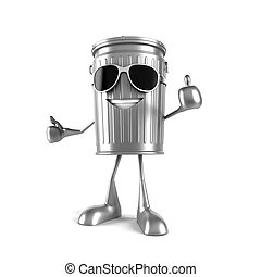 Trash can character - 3d rendered illustration of a trash...