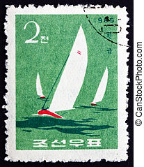 Postage stamp North Korea 1965 Finn Class, Yacht - NORTH...