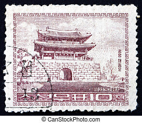 Postage stamp North Korea 1963 Taedong Gate, Pyongyang -...