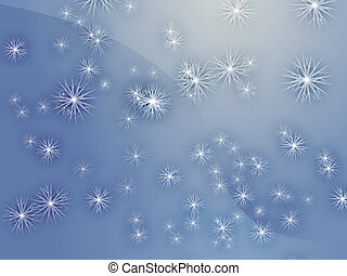 Falling snow, detailed crystalline snowlfakes abstract...