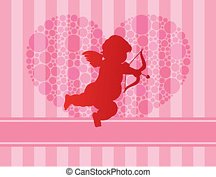 Cupid Silhouette with Polka Dots Heart