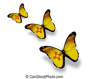 Three New Mexico flag butterflies, isolated on white