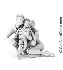 Happy family - 3d rendered illustration of a family