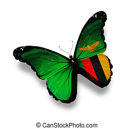 Zambia flag butterfly, isolated on white