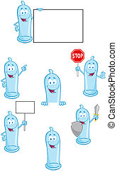 Condoms Characters-Collection - Condoms Cartoon Mascot...