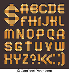 Font from yellowish scotch tape - Roman alphabet A, B, C, D,...