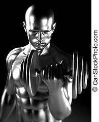 Steel muscle man - 3d rendered illustration of a steel...