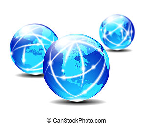 Global Communication Planet - Three Globes with lightlines...