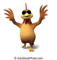 Chicken character - 3d rendered illustration of a chicken