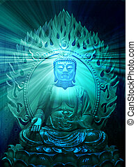 Buddha illustration - Buddha religious illustration with...