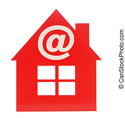 email icon on red plastic house shaped object on white...