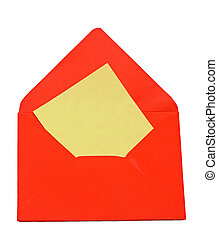 Envelope with blank letter on white background