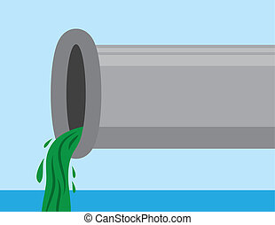 Pipe with Sludge - Pipe with sludge pouring out into water