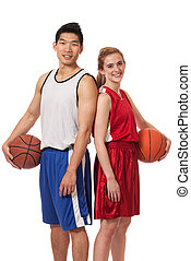 Basketball Players - Male and female basketball players...